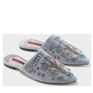 Violeta by Mango Palm velvet slippers blue 8